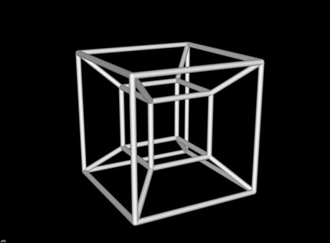 التيسيراكت Tesseract هو محاولة لتخيل مكعب رباعي الأبعاد